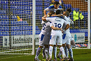 GOAL 2-0! Tranmere Rovers striker James Vaughan scores and celebrates with team mates during the EFL Sky Bet League 2 match between Tranmere Rovers and Forest Green Rovers at Prenton Park, Birkenhead, England on 19 January 2021.