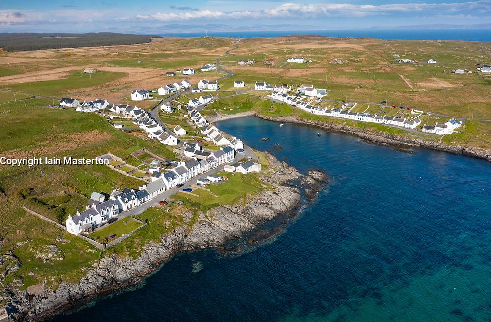 Aerial view of village of Portnahaven on Rhinns of Islay on Islay , Inner Hebrides, Scotland UK