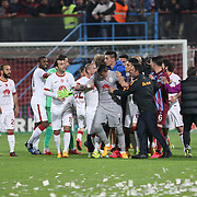 Galatasaray's goalkeeper Nestor Fernando Muslera (C) during their Turkish SuperLeague Derby match Trabzonspor between Galatasaray at the Avni Aker Stadium at Trabzon Turkey on Sunday, 19 April 2015. Photo by TVPN/TURKPIX