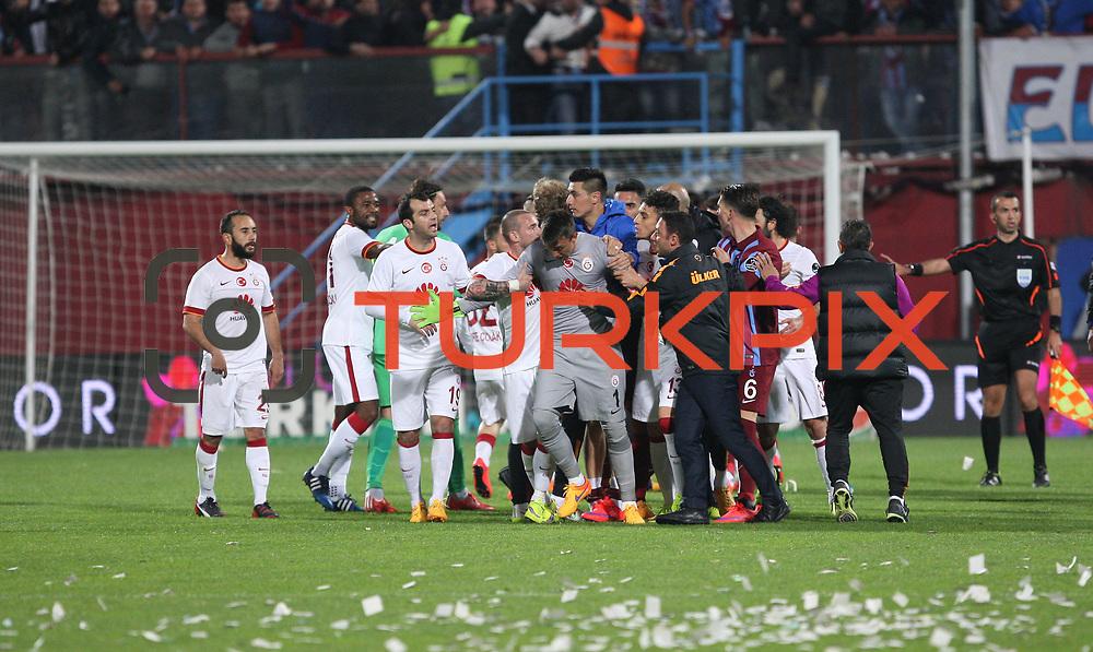Galatasaray's goalkeeper Nestor Fernando Muslera (C) during their Turkish SuperLeague Derby match Trabzonspor between Galatasaray at the Avni Aker Stadium at Trabzon Turkey on Sunday, 19 April 2015. Photo by TVPN/TURKPIX