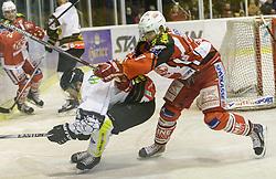 14.12.2014, Stadthalle, Klagenfurt, AUT, EBEL, EC KAC vs Dornbirner Eishockey Club, 27. Runde, im Bild Alexander Feichtner (Dornbirner Eishockey Club, #58), Florian Kurath (EC KAC, #71) // during the Erste Bank Icehockey League 27th round match betweeen EC KAC and Dornbirner Eishockey Club at the City Hall in Klagenfurt, Austria on 2014/12/14. EXPA Pictures © 2014, PhotoCredit: EXPA/ Gert Steinthaler