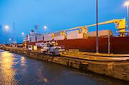 Transiting the Panama Canal at dusk, Panama