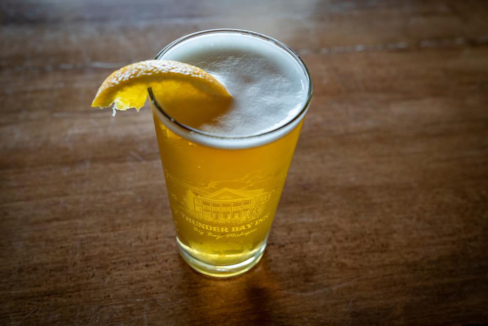 A beer at the Thunder Bay Inn at Big Bay, Michigan.