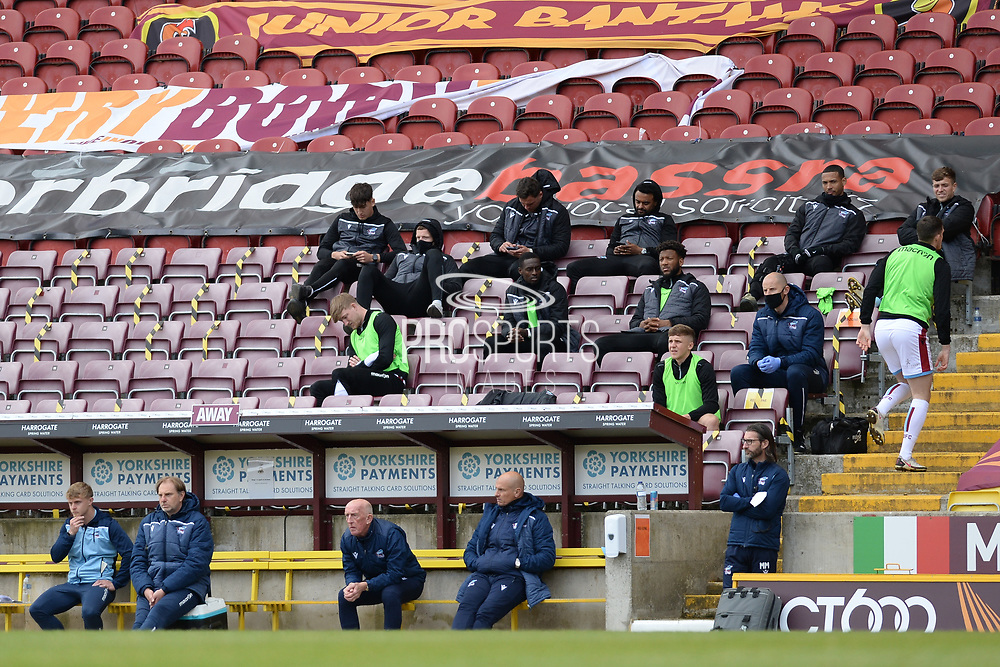 Scunthorpe United manager Neil Cox, Scunthorpe United Assistant Manager Mark Lillis watching on during the EFL Sky Bet League 2 match between Bradford City and Scunthorpe United at the Utilita Energy Stadium, Bradford, England on 1 May 2021.