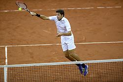 13-09-2014 NED: Davis Cup Nederland - Kroatie, Amsterdam<br /> In de Ziggo Dome verloren Robin Haase (foto) en Jean-Julien Rojer van het Kroatische dubbel Marin Cilic en Marin Draganja: 2-6, 6-3, 3-6 en 4-6.