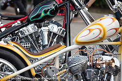 BF11 invited builder Reid McCleary's 1955 custom Harley-Davidson Panhead at the Stampede pre-Born Free gathering and races in the City of Industry, CA, USA. Thursday, June 20, 2019. Photography ©2019 Michael Lichter.