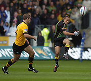 Northampton, Northamptonshire, 2nd October 2004 Northampton Saints vs London Wasps, Zurich Premiership Rugby, Franklyn Gardens, [Mandatory Credit: Peter Spurrier/Intersport Images],<br /> Shane Draham, kicking the ball clear.