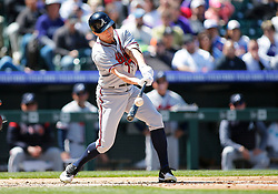 April 8, 2018 - Denver, CO, U.S. - DENVER, CO - APRIL 08: Atlanta Braves Outfielder Peter Bourjos (12) hits during a regular season MLB game between the Colorado Rockies and the visiting Atlanta Braves on April 8, 2018 at Coors Field in Denver, CO. (Photo by Russell Lansford/Icon Sportswire) (Credit Image: © Russell Lansford/Icon SMI via ZUMA Press)