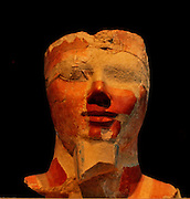 Head and shoulders from an Osiride statue, 18th dynasty.  Joint reign of Hatchepsut and Thutmose 111.  (ca 1473-1458 B.C.) Painted limestone.  From Thebes, originally from one of the Hatshepsut temple's pillars on the upper terrace.