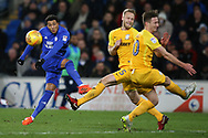 Nathaniel Mendez-Laing of Cardiff city (l) shoots well wide of goal. .EFL Skybet championship match, Cardiff city v Preston North End at the Cardiff city stadium in Cardiff, South Wales on Friday 29th December 2017.<br /> pic by Andrew Orchard, Andrew Orchard sports photography.