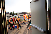 The Oregon Marching Band practices at the Calgary Christian School in Alberta, Canada on July 7, 2011.