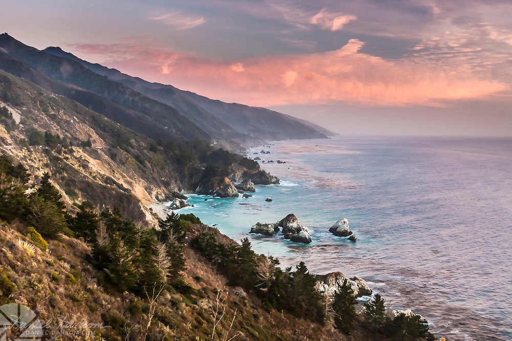 Big Sur Coast along Highway 1, at dusk, day with sunset clouds, California