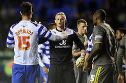 Kasper Schmeichel (DEN) of Leicester City shakes hands with Sean Morrison (ENG) of Reading after the match finishes in a 1-1 draw - Photo mandatory by-line: Rogan Thomson/JMP - 07966 386802 - 14/04/2014 - SPORT - FOOTBALL - Madejski Stadium, Reading - Reading v Leicester City - Sky Bet Football League Championship.