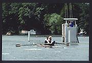 Henley on Thames. United Kingdom. The Silver Goblets & Nickalls' Challenge Cup, AUT,M2- <br /> stroke, Karl SINZINGER and , Hermann BAUER,<br /> 1990 Henley Royal Regatta, Henley Reach, River Thames. 06/07.1990<br /> <br /> [Mandatory Credit; Peter SPURRIER/Intersport Images] 1990 Henley Royal Regatta. Henley. UK