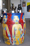 Domaine Coume del Mas. Banyuls-sur-Mer. Roussillon. Oak barrel decorated with colourful painting of naked women. France. Europe.