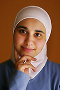 Portrait of young Palestinian woman in Dubai, United Arab Emirates..