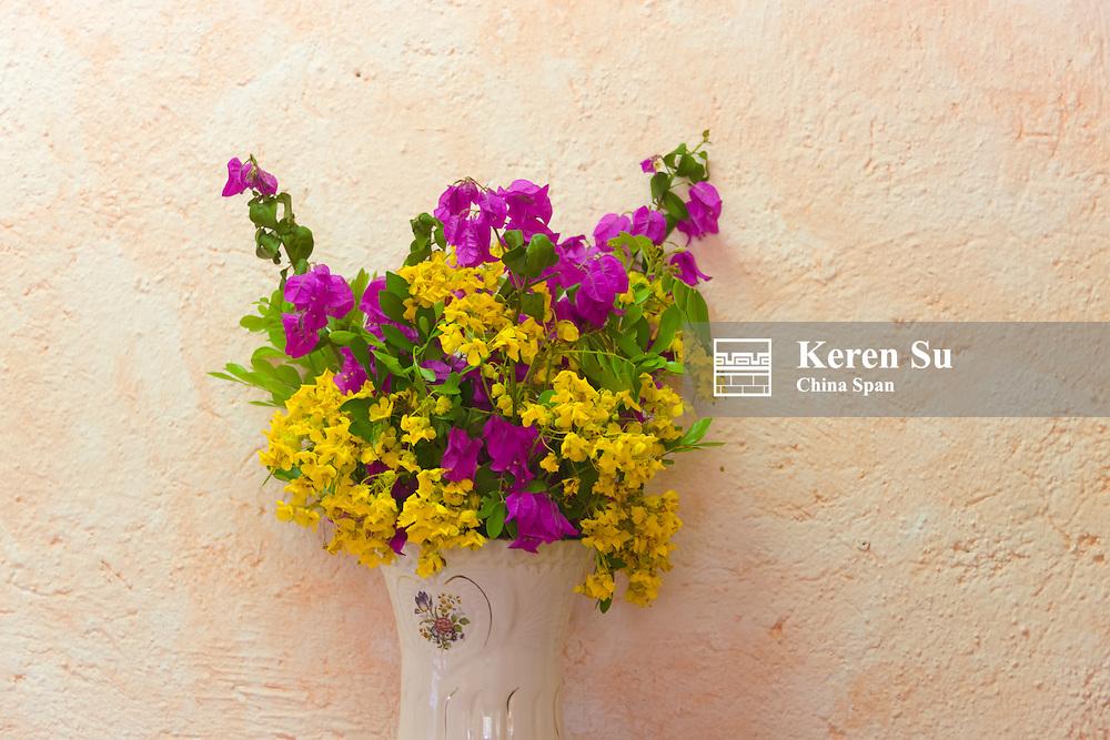 Vase of flowers, Yucatan, Mexico