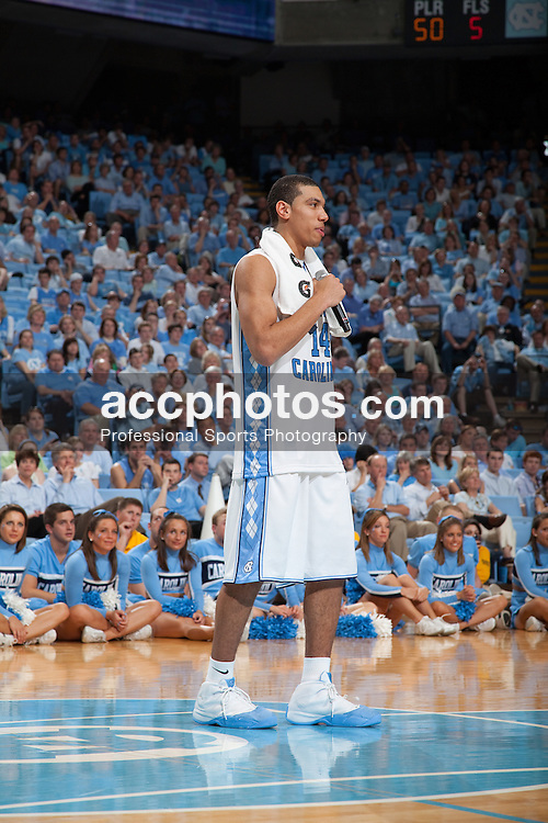 08 March 2009: North Carolina Tar Heels forward Danny Green (14) appears in front of the Carolina fans one last time in the Smith Center as a player as he delivers his senior speech after a 79-71 win over the Duke Blue Devils at the Dean Smith Center in Chapel Hill, NC.