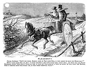 """Pleasant! Nervous gentleman. """"Don't you think, Robert, going so fast down hill, is very likely to make the horse fall?"""" Robert. """"Lor bless yer - no, sir! I never throwed a Oss down in my life, 'xcept once; and that was one frosty moonlight night (just such a night as this it was), as I was a-drivin' a gent (as might be you) from the station when I throwed down this werry oss, in this werry identical place!"""""""