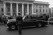 State Funeral Of Mrs Thomas Clarke..1972..08.10.1972..10.08.1972..8th October 1972..Today the state funeral of Mrs Kathleen Clarke took place at the Pro Cathedral,Dublin. Mrs Clarke was the wife of the late Thomas Clarke who was executed in Kilmainham Jail in 1916. Thomas Clarke was a signatory of the Irish Proclamation of 1916..Image taken as the cortege stops at the General Post Office (GPO) in memory of Mrs Clarke's husband Thomas. he was one of the leaders of the 1916 rising. Along with many volunteers Thomas Clarke held out against the British army here over the Easter period.