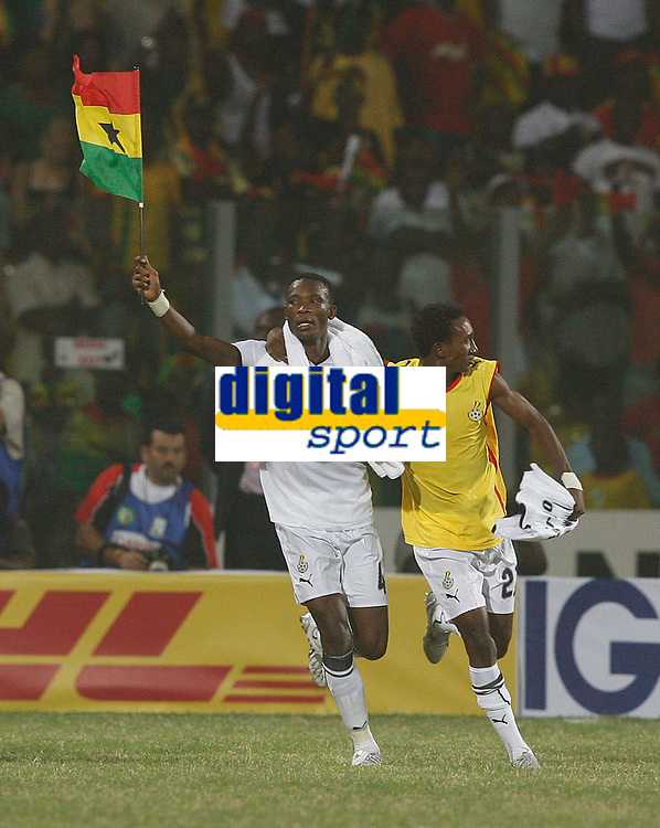 Photo: Steve Bond/Richard Lane Photography.<br />Ghana v Morocco. Africa Cup of Nations. 28/01/2008. John Pantsil (L) and Hans Adu Sarpei (R) celebrate qualification