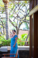 The Four Seasons Resort Hualalai at Historic Kaupulehu on the Big Island of Hawaii. On the lanai of the lobby building.
