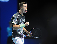 Tennis - 2019 Nitto ATP Finals at The O2 - Day Three<br /> <br /> Doubles Group Jonas Bjorkman: Rajeev Ram & Joe Salisbury vs. Ivan Dodig & Filip Polasek<br /> <br /> Joe Salisbury of GBR urges his partner on<br /> <br /> COLORSPORT/ANDREW COWIE