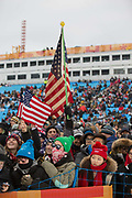 Spectators during the mens Snowboard Halfpipe Finals of the Pyeongchang Winter Olympics on 14th February 2018 in South Korea