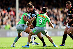 Tom Hendrickson of Exeter Chiefs is challenged by Mike Brown of Harlequins and Martin Landajo of Harlequins - Mandatory by-line: Ryan Hiscott/JMP - 19/10/2019 - RUGBY - Sandy Park - Exeter, England - Exeter Chiefs v Harlequins - Gallagher Premiership Rugby