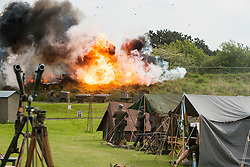 Battle Pyrotechnics finale to the Northern World War II Association Take Part in Battle re-enactment at Fort Paull <br /> Bank Holiday Monday May 5 2014<br /> Image © Paul David Drabble <br /> www.pauldaviddrabble.co.uk