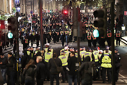November 5, 2016 - London, London, UK - London , UK . Police on Whitehall . Supporters of Anonymous , many wearing Guy Fawkes masks , attend the Million Mask March bonfire night demonstration , in central London  (Credit Image: © Joel Goodman/London News Pictures via ZUMA Wire)