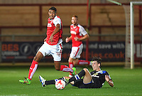 Fleetwood Town's Victor Nirennold avoids the tackle of Blackburn Rovers' Joseph Rankin-Costello<br /> <br /> Photographer Dave Howarth/CameraSport<br /> <br /> The Checkatrade Trophy - Fleetwood Town v Blackburn Rovers U23 - Tuesday 30 August 2016 - Highbury Stadium - Fleetwood<br />  <br /> World Copyright © 2016 CameraSport. All rights reserved. 43 Linden Ave. Countesthorpe. Leicester. England. LE8 5PG - Tel: +44 (0) 116 277 4147 - admin@camerasport.com - www.camerasport.com