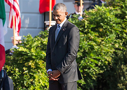 October 18, 2016 - Washington, DC, United States - On the South Lawn  of the White House in Washington, D.C., U.S., on Tuesday, Oct. 18, 2016., President Barack Obama listens to Italian Prime Minister Matteo Renzi speak, at the Official State Visit. This was the last Official State Visit for the Obama administration. (Credit Image: © Cheriss May/NurPhoto via ZUMA Press)