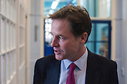 © Licensed to London News Pictures. 22/10/2014. London, UK. Nick Clegg arrives.  Deputy Prime Minister Nick Clegg visits a school in London on Wednesday 22 October to address an audience of public sector workers - including teachers, social workers, local government and NHS staff, Civil Service apprentices & Fast Streamers. He gave a speech about the public sector as a whole and in it, thanked public sector workers for their hard work through challenging financial times. Photo credit : Stephen Simpson/LNP