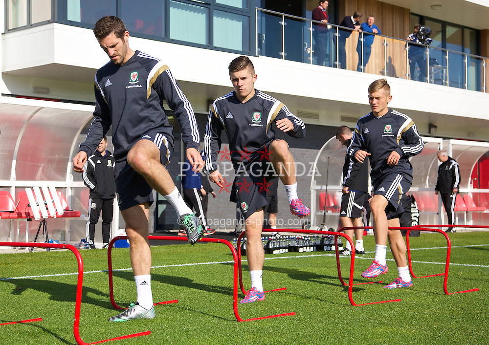 NEWPORT, WALES - Tuesday, October 7, 2014: Wales' Sam Ricketts, Declan John and George Williams training at Dragon Park National Football Development Centre ahead of the UEFA Euro 2016 qualifying match against Bosnia and Herzegovina. (Pic by David Rawcliffe/Propaganda)