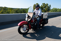 Roger Green riding his 1937 Harley-Davidson ULH Flathead in the Cross Country Chase motorcycle endurance run from Sault Sainte Marie, MI to Key West, FL (for vintage bikes from 1930-1948). Stage 4 saw a 315 mile ride from Urbana, IL to Bowling Green, KY USA. Monday, September 9, 2019. Photography ©2019 Michael Lichter.