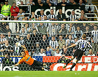 Photo. Jed Wee<br /> Newcastle United v Partizan Belgrade, European Champions League Qualifier, St. James' Park, Newcastle. 27/08/2003.<br /> Newcastle's usually reliable skipper Alan Shearer (R) gets the shootout off to the worst possible start for his team as he sends the ball into the stands.