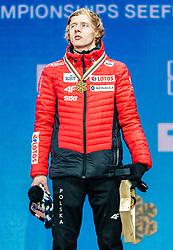 02.03.2019, Seefeld, AUT, FIS Weltmeisterschaften Ski Nordisch, Seefeld 2019, Skisprung, Herren, Siegerehrung, im Bild Weltmeister und Goldmedaillengewinner Dawid Kubacki (POL) // World champion and Gold medalist Dawid Kubacki of Poland during the winner ceremony for the men's Skijumping HS109 competition of FIS Nordic Ski World Championships 2019. Seefeld, Austria on 2019/03/02. EXPA Pictures © 2019, PhotoCredit: EXPA/ Stefan Adelsberger