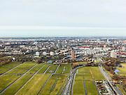Nederland, Zuid-Holland, Leiden, 20-02-2012; Oostvlietpolder en Vrouwenvaart (re), .Polder and land division and view on Leiden (West Netherlands)..copyright foto/photo Siebe Swart