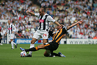 Photo: Lee Earle.<br /> West Bromwich Albion v Hull City. Coca Cola Championship. 05/08/2006. Albion's Ronnie Wallwork (L) is tackled by Damien Delaney.