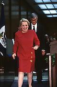 US Secretary of State Madeleine Albright with Treasury Secretary Robert Rubin during an event February 14, 1997 In Washington, DC.