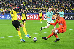 DORTMUND, Nov. 6, 2019  Thorgan Hazard (1st, L) of Dortmund shoots during a UEFA Champions league group F soccer match between Borussia Dortmund and Inter Milan in Dortmund, Germany, Nov. 5, 2019. (Photo by Ulrich HufnagelXinhua) (Credit Image: © Xinhua via ZUMA Wire)