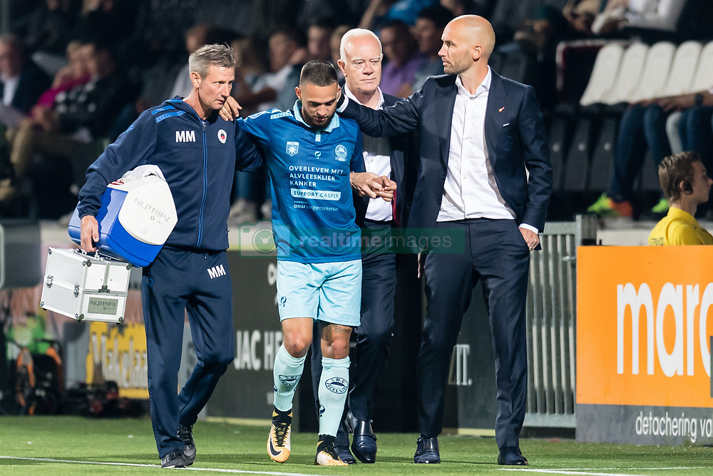 (M-R) Stanley Elbers of Excelsior, coach Mitchell van der Gaag of Excelsior during the Dutch Eredivisie match between Heracles Almelo and sbv Excelsior at Polman stadium on August 26, 2017 in Almelo, The Netherlands