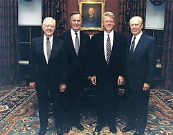 File - United States President Bill Clinton, center right, poses for a group photo with former US Presidents Jimmy Carter, left, George H.W. Bush, center left, and Gerald R. Ford, right, at the White House in Washington, DC on September 13, 1993. The leaders gathered at the White House for the Middle Eastern Treaty Signing, also known as Oslo 1, and for the North American Free Trade Agreement, also known as NAFTA, kick-off the following day. Photo by White House via CNP/ABACAPRESS.COM