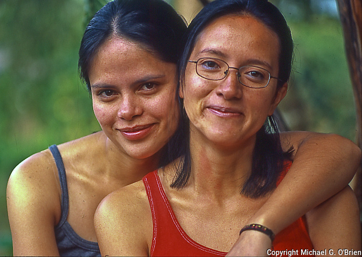 Portrait of two sisters - Guillermina and Claudia in Mindo, Ecuador