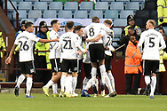 The Swansea City players  celebrate Swansea City midfielder Nathan Dyer (12) goal 0-2 during the The FA Cup 3rd round match between Aston Villa and Swansea City at Villa Park, Birmingham, England on 5 January 2019.