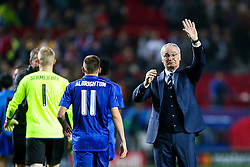 Leicester City manager Claudio Ranieri thanlks the away fans after a 2-1 loss - Rogan Thomson/JMP - 22/02/2017 - FOOTBALL - Estadio Ramon Sanchez Pizjuan - Seville, Spain - Sevilla FC v Leicester City - UEFA Champions League Round of 16, 1st Leg.