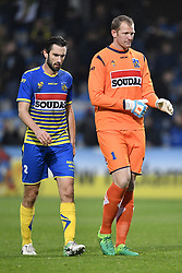 October 28, 2017 - Westerlo, BELGIUM - Westerlo's Maxime Biset and Westerlo's goalkeeper Kristof Van Hout pictured during a soccer game between KVC Westerlo and Lierse SK, in Westerlo, Saturday 28 October 2017, on day 13 of the division 1B Proximus League competition of the Belgian soccer championship. BELGA PHOTO YORICK JANSENS (Credit Image: © Yorick Jansens/Belga via ZUMA Press)