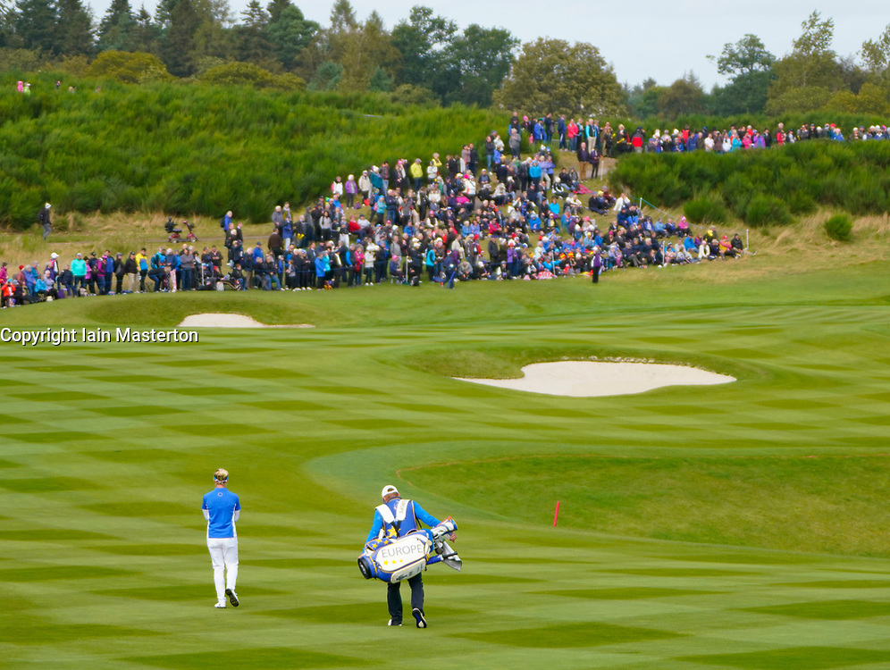 Solheim Cup 2019 at Centenary Course at Gleneagles in Scotland, UK. Charley Hull of Europe walks down the 9th fairway on Sunday Singles day.