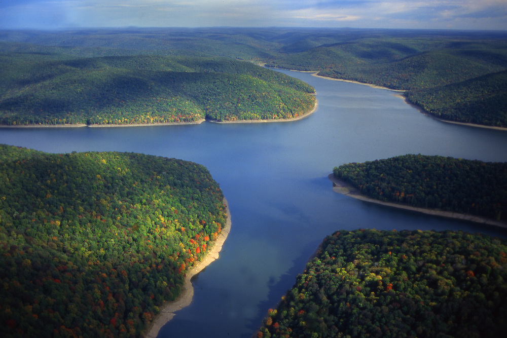 Aerial, PA landscapes, Allegheny National Forest, Reservoir, Aerial Photograph Pennsylvania